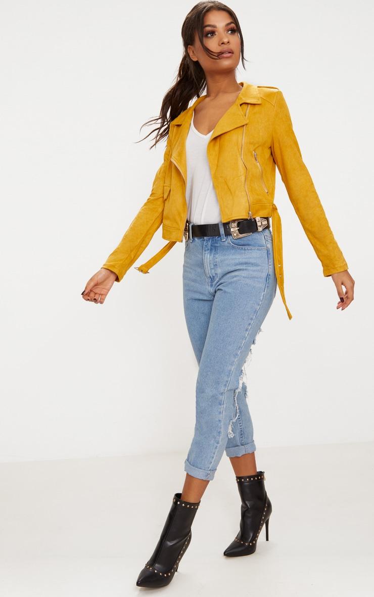 Niki veste biker en imitation daim jaune moutarde 4