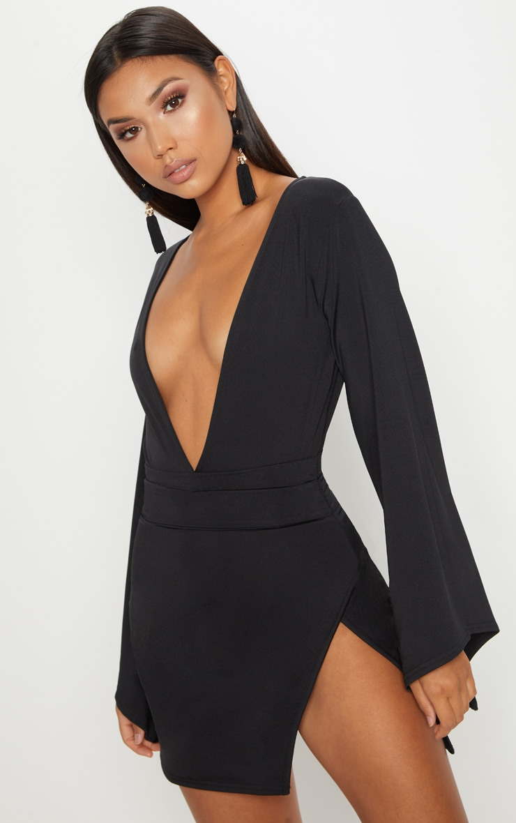 Black Drape Sleeve Plunge Extreme Split Leg Bodycon Dress 1