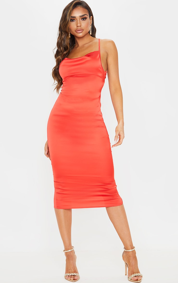 Red Lace Back Stretch Satin Midi Dress 1