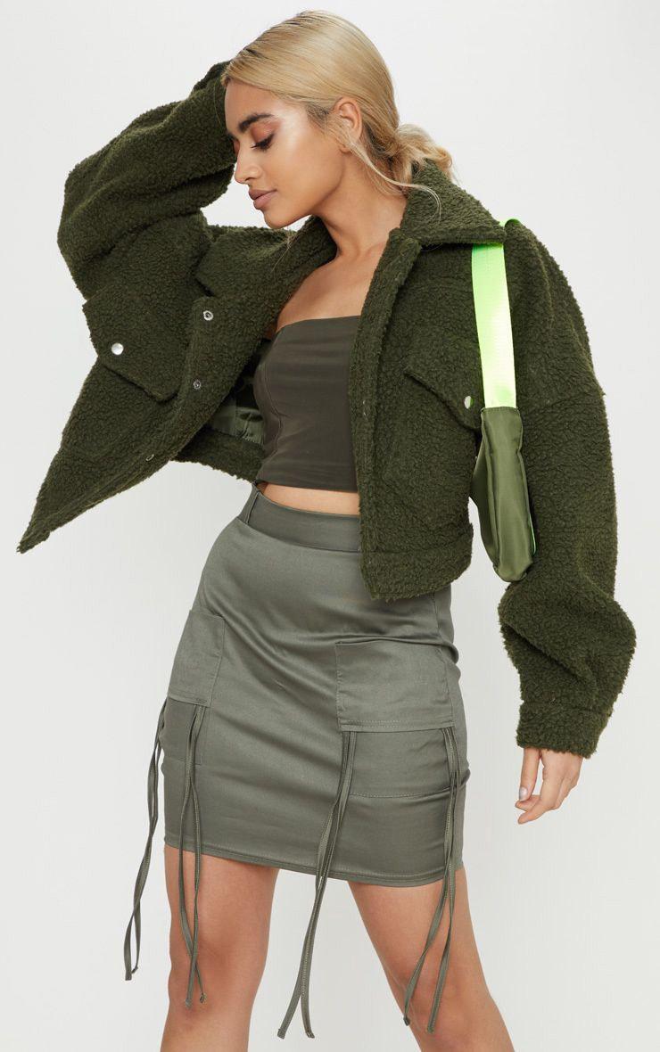Petite Khaki Fitted Cargo Mini Skirt 1