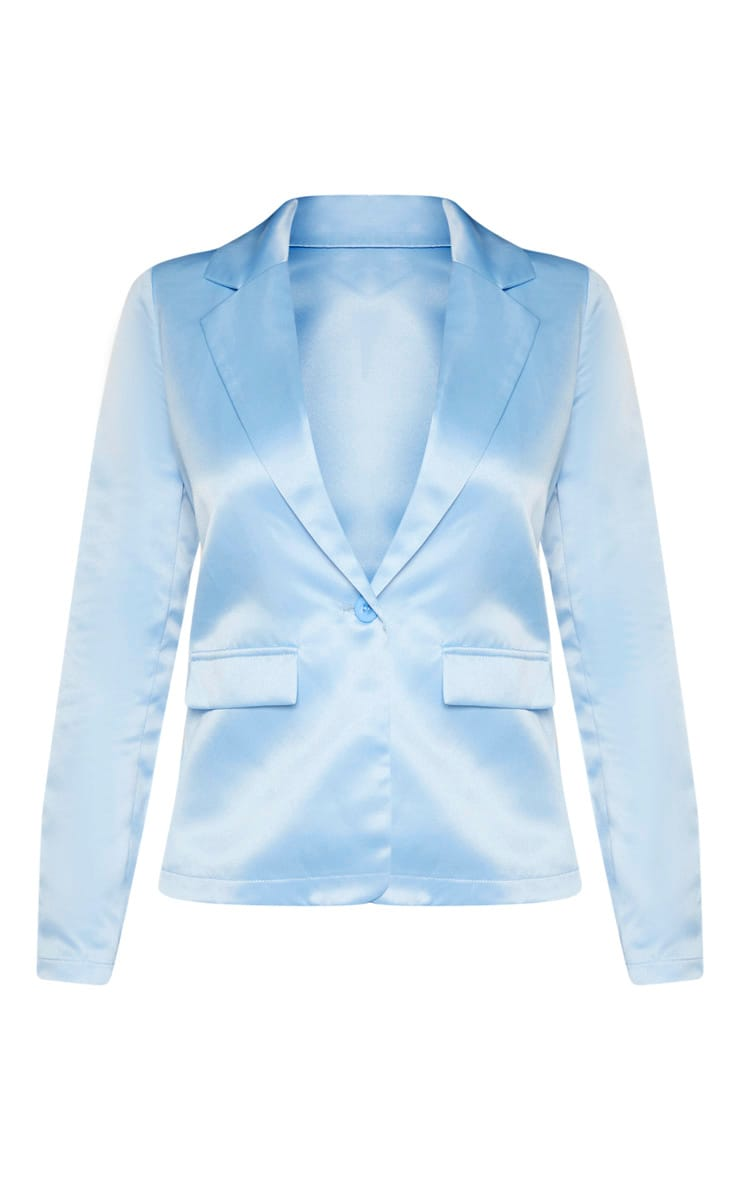 Petite - Blazer bleu cendré oversize à boutonner  3