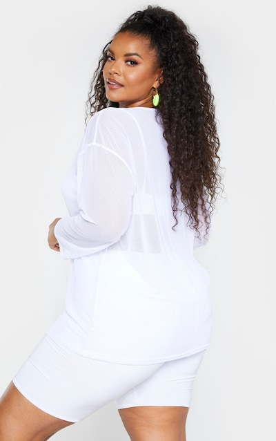 Plus White Sheer Mesh Long Sleeve Oversized T-Shirt