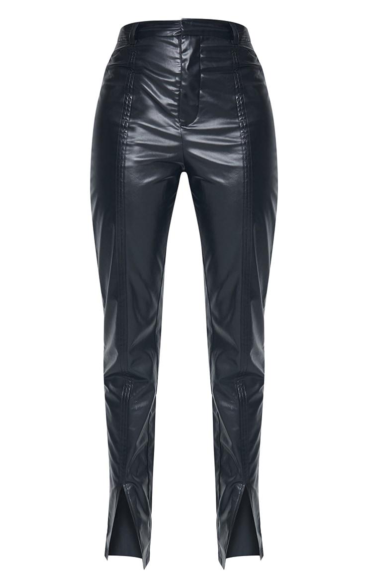 Tall Black Faux Leather Split Hem Seam Detail Skinny Pants 5