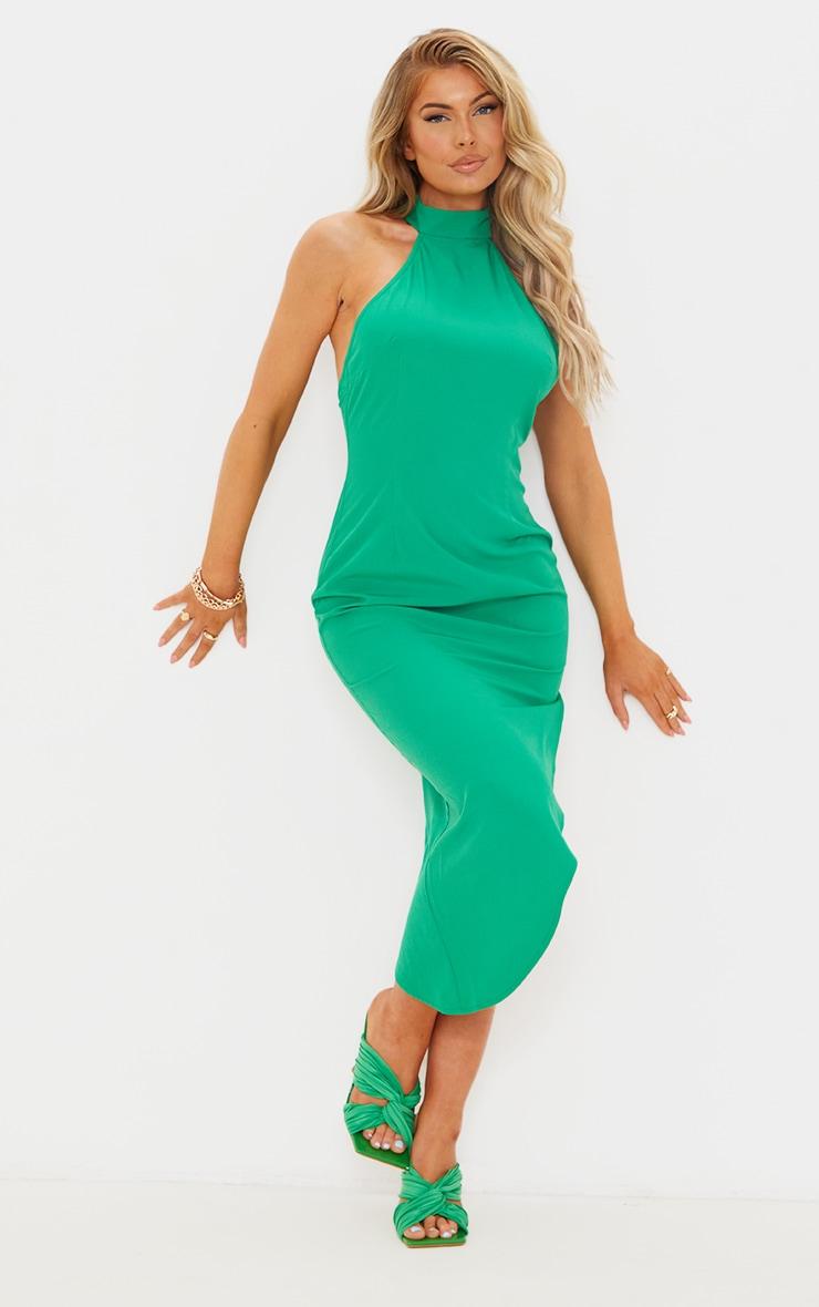Green High Neck Open Back Detail Asymmetric Midi Dress image 2