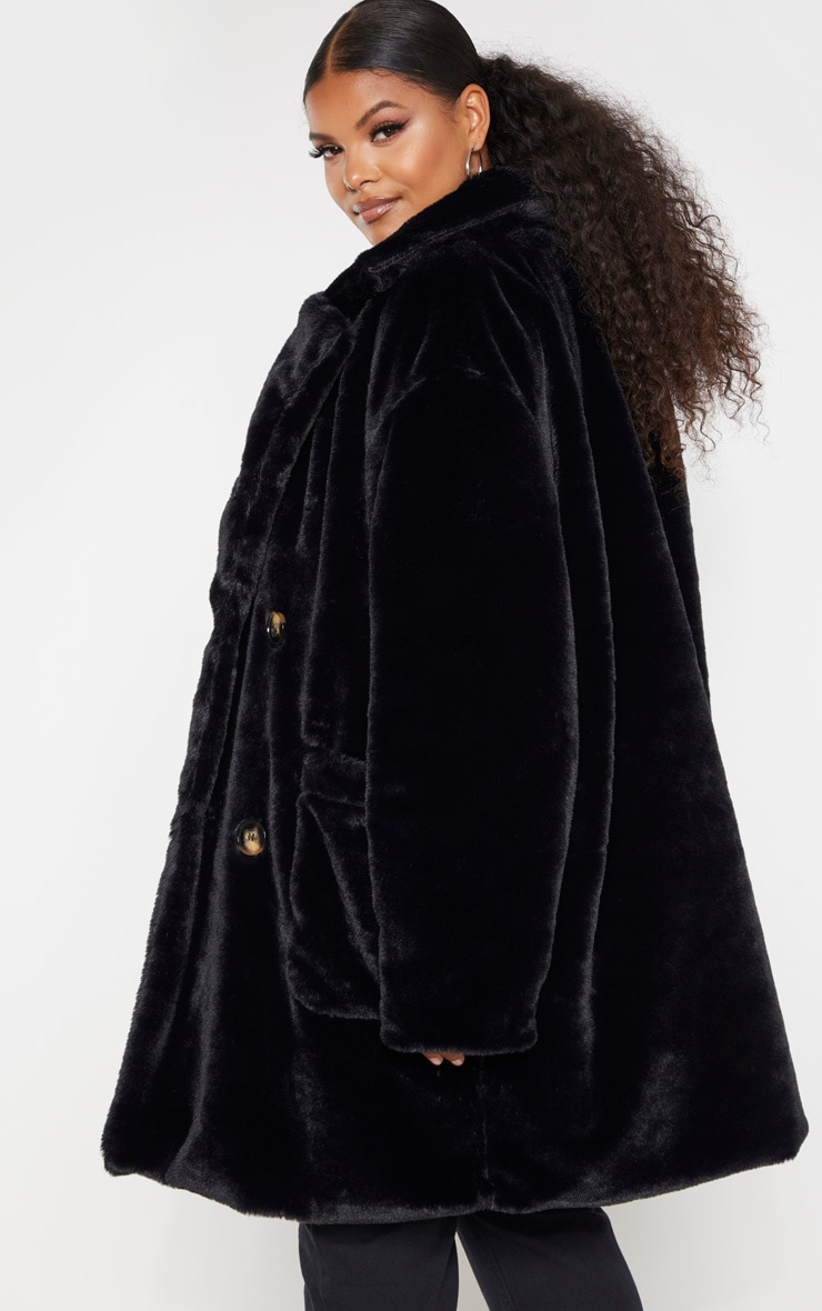 Plus Black Faux Fur Double Breasted Coat 2