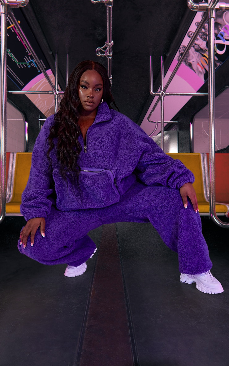Plus Purple Unisex Borg Oversized Sweater 3