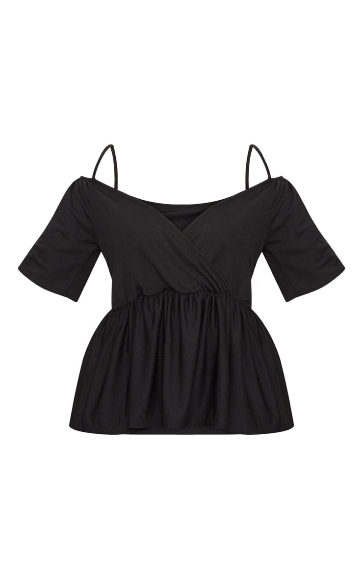 Plus Black Cold Shoulder Frill Hem Top 3
