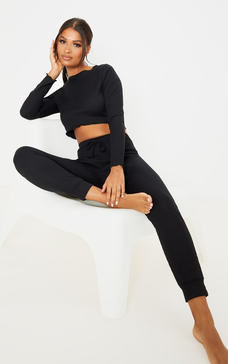 Black Ribbed Frill Edge Long Sleeve Legging PJ Set 1