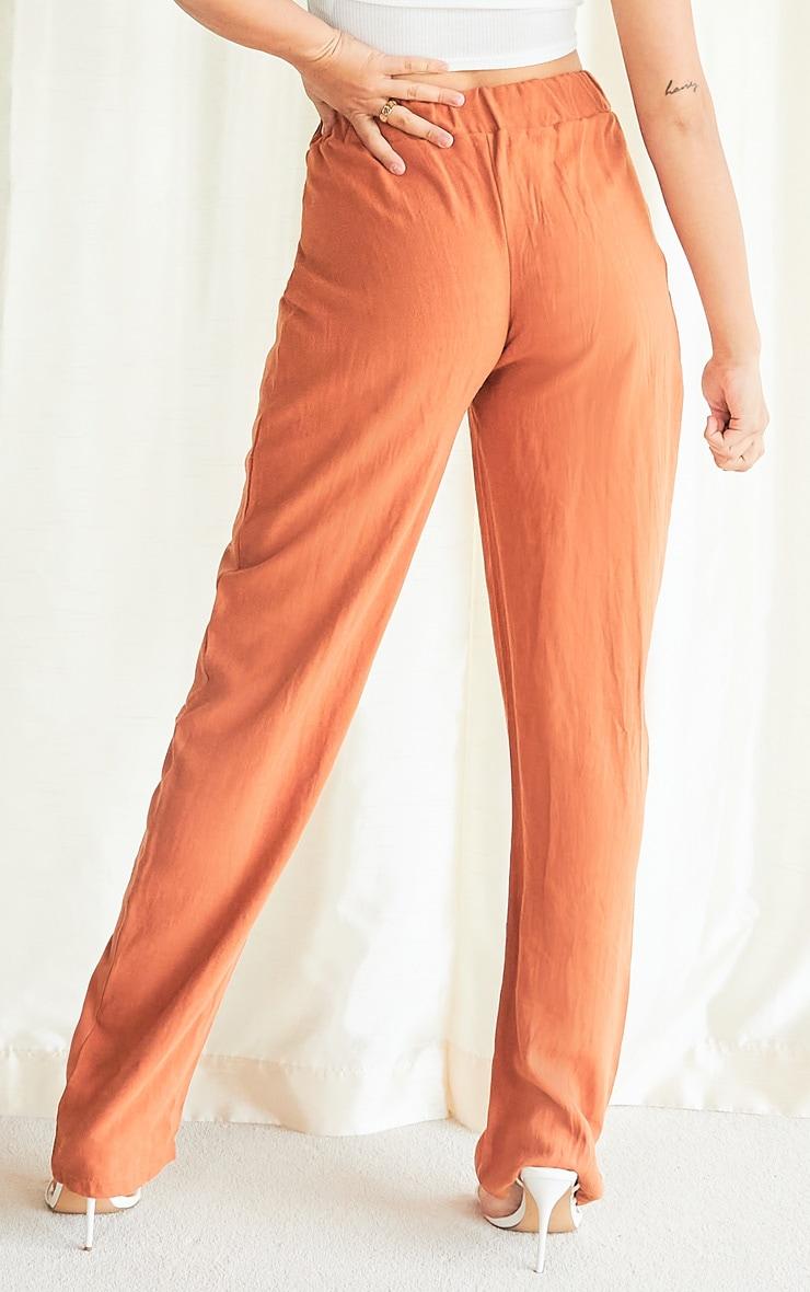 Rust Linen Look Straight Leg Pants 3
