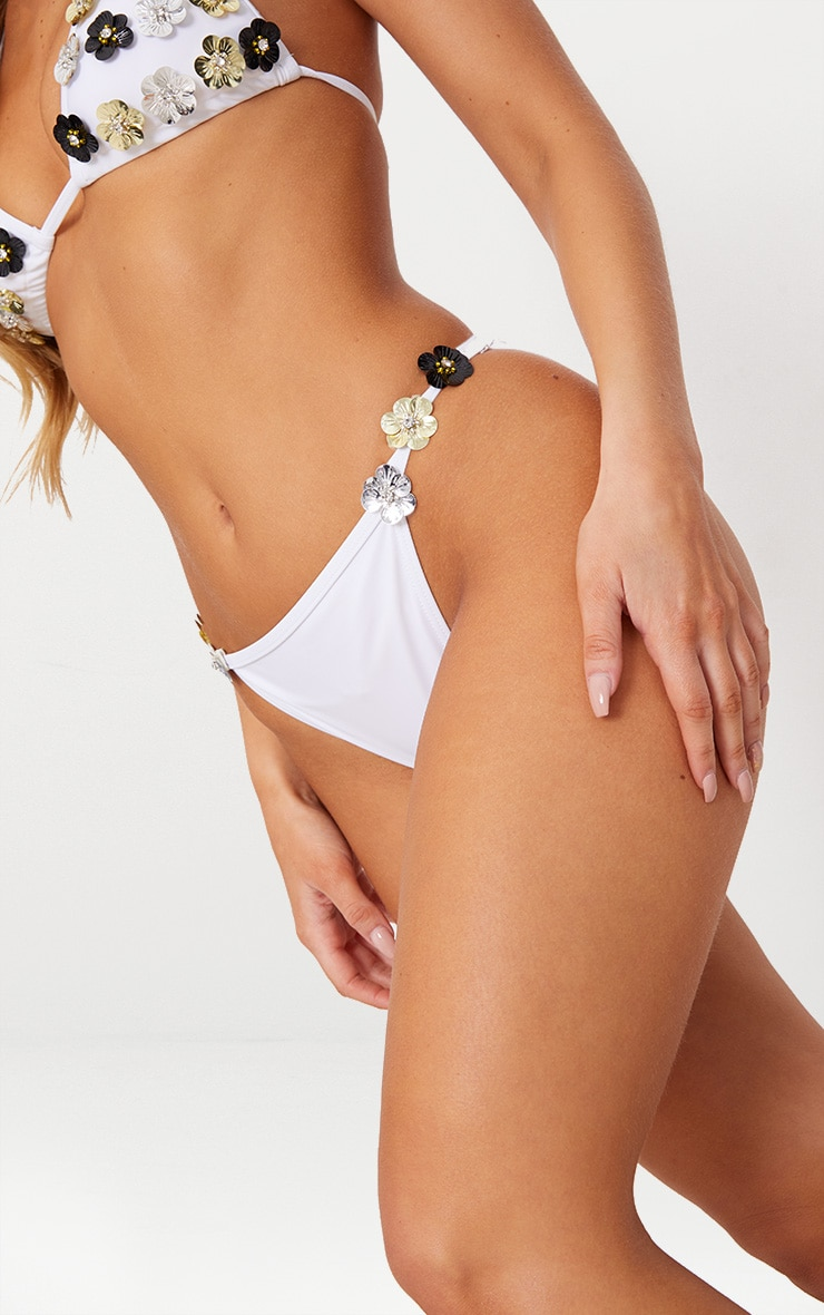 White High Waisted 3D Diamante Floral Bikini Bottom 5