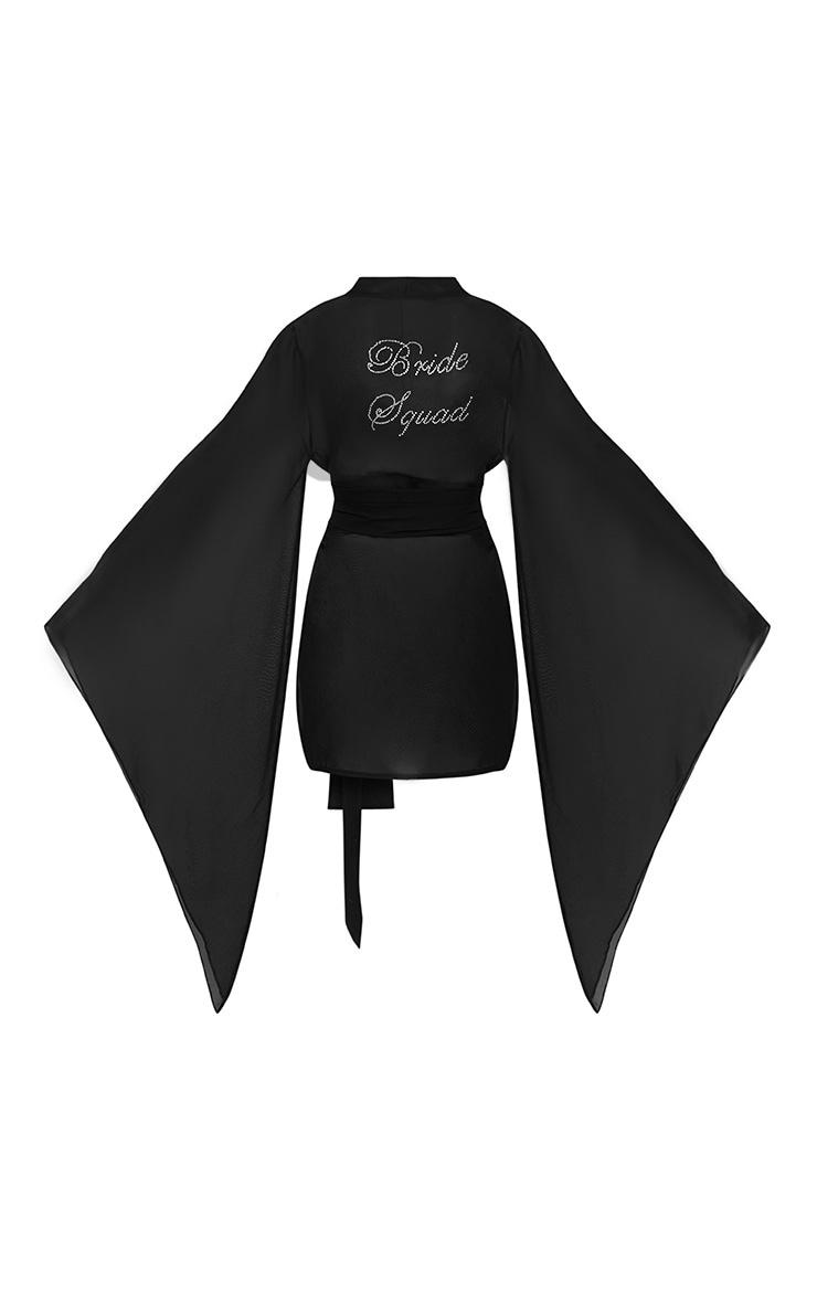 Bride Squad Black Chiffon Diamante Kimono 4