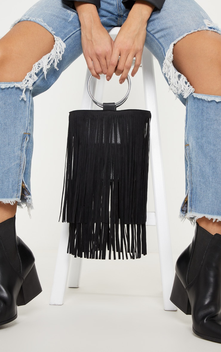 Black Suedette Fringe Grab Bag 1