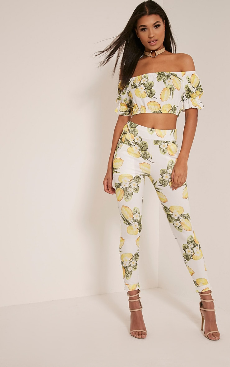 Farren White Lemon Print Cigarette Trousers 1