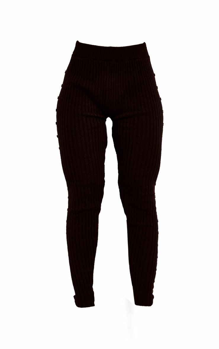 Black Button Up Side Knitted High Waisted Leggings 5