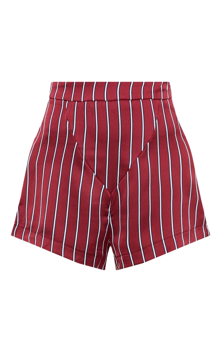 Petite Burgundy Satin Striped High Waist Shorts 3