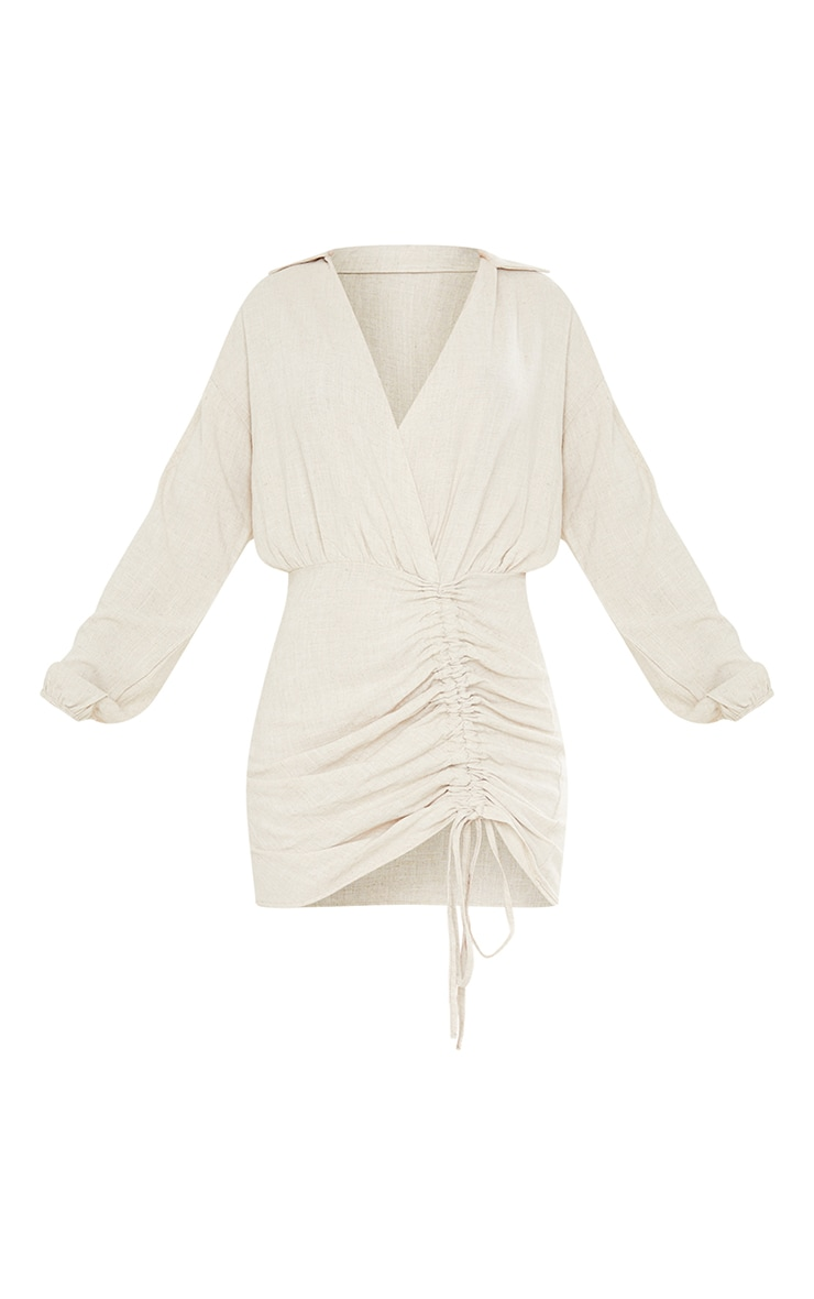 Stone Linen Long Sleeve Plunge Ruched Shirt Dress 5