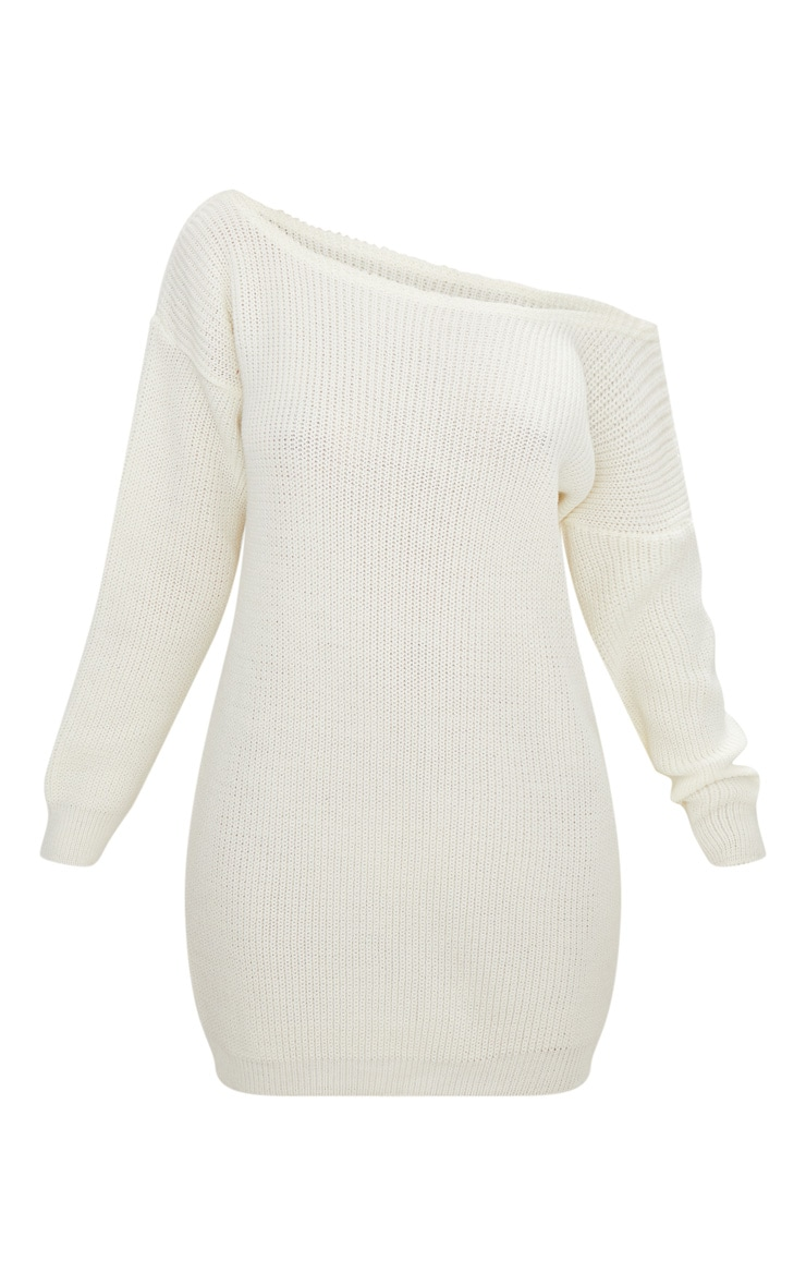 Cream Off The Shoulder Jumper Dress 3