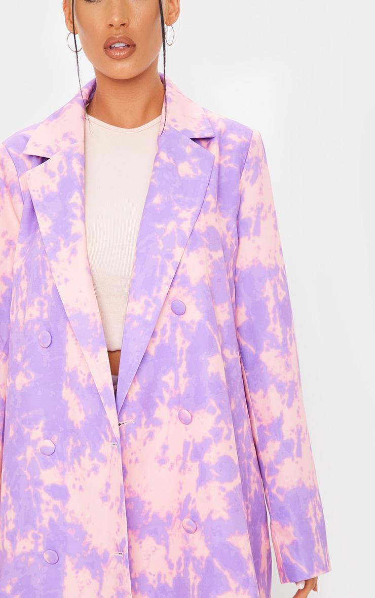 Purple Woven Triple Breasted Oversized Blazer 4
