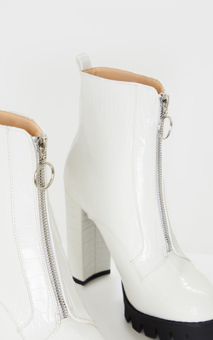 White Croc Extreme Block Heel Cleated Zip Front Ankle Boot 4