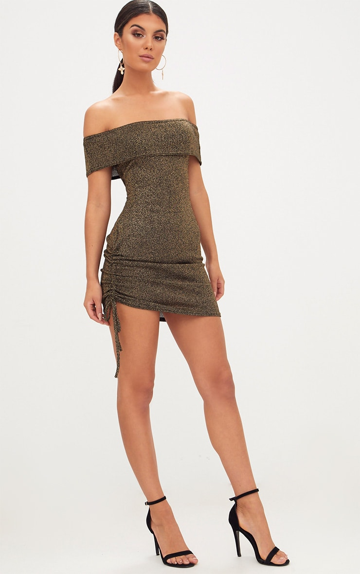 Gold Glitter Ruched Side Bardot Bodycon Dress 4