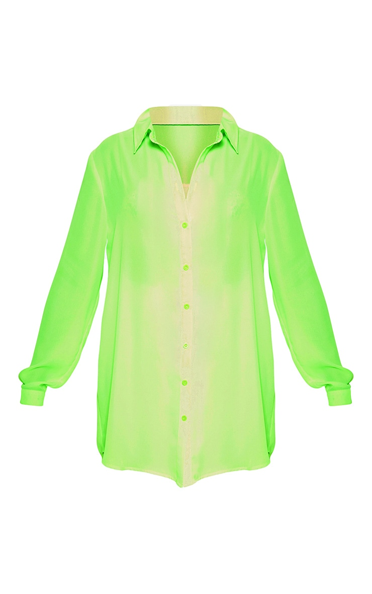 Petite Neon Green Oversized Beach Shirt 3