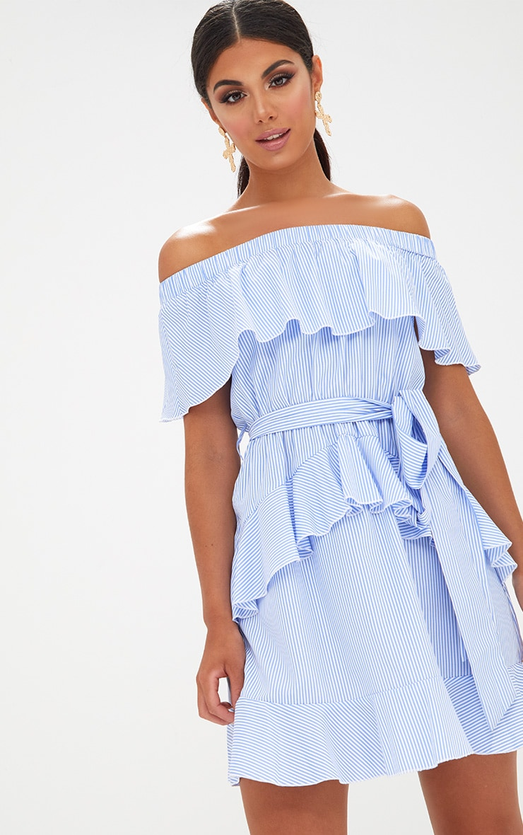 Blue Striped Bardot Ruffle Detail Tie Dress 1
