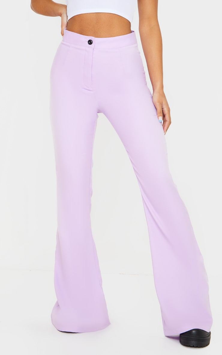 Plain Lilac Flared Pants 2