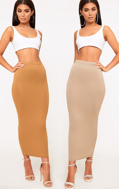 Basic Camel & Taupe Jersey Midaxi Skirt 2 Pack