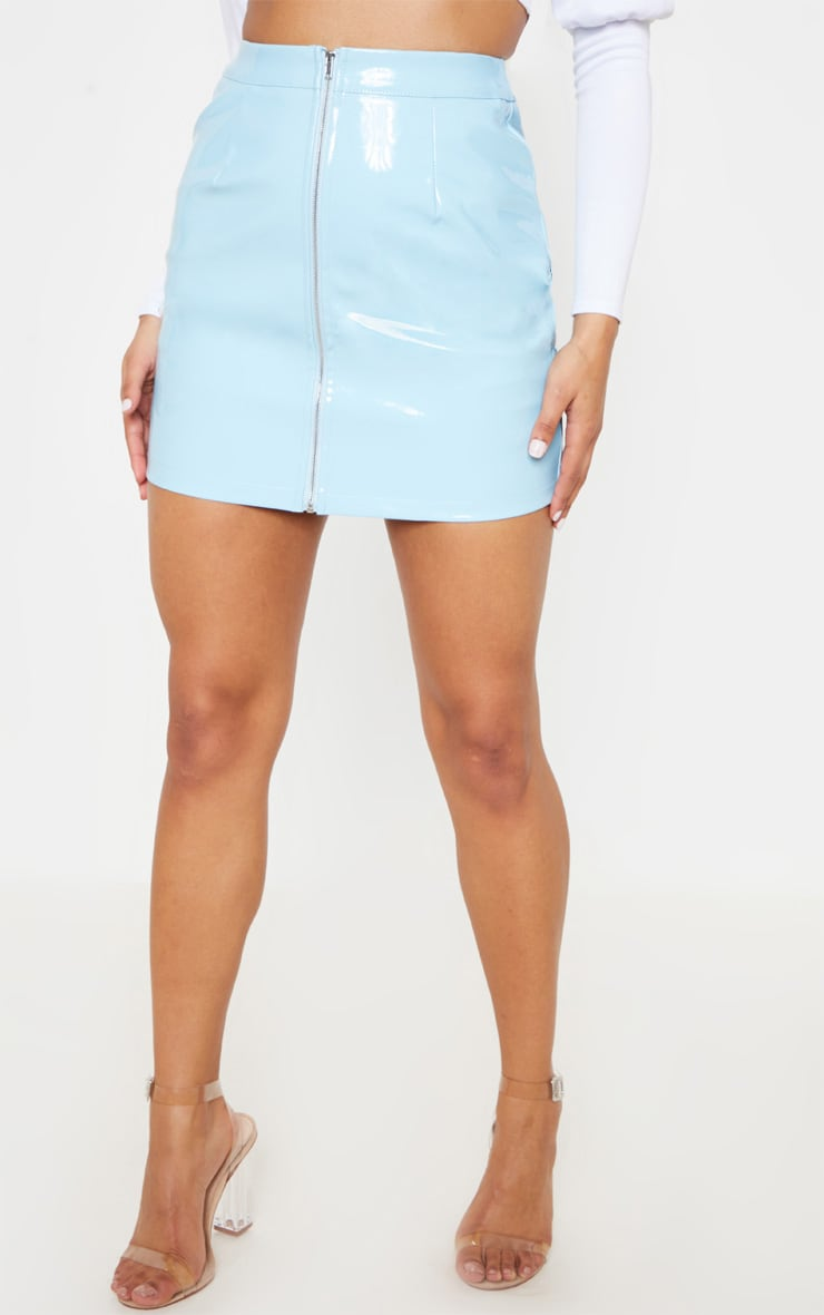 Baby Blue Vinyl Mini Skirt 3