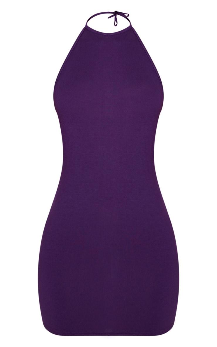 Purple Basic Halterneck Bodycon Dress 3