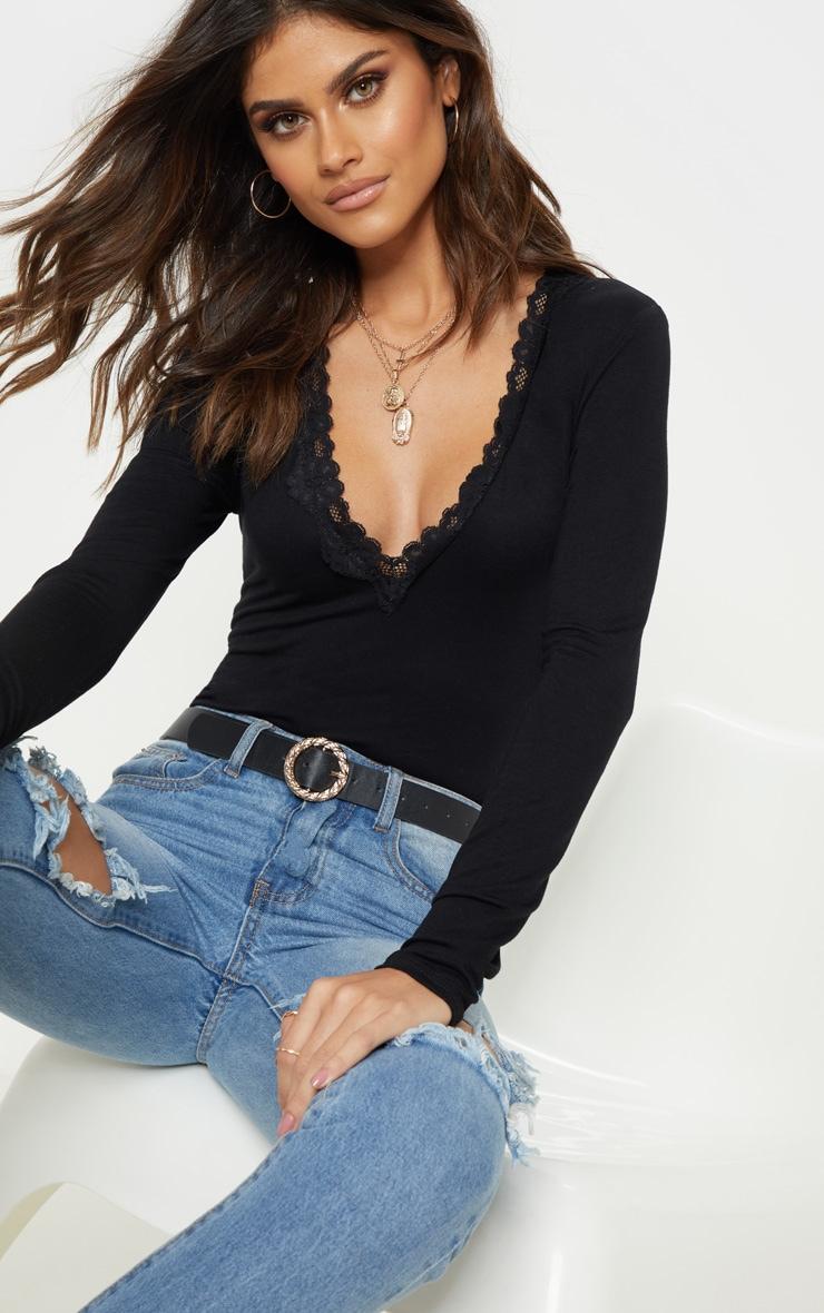 Black Lace Trim Plunge Long Sleeve Bodysuit 1