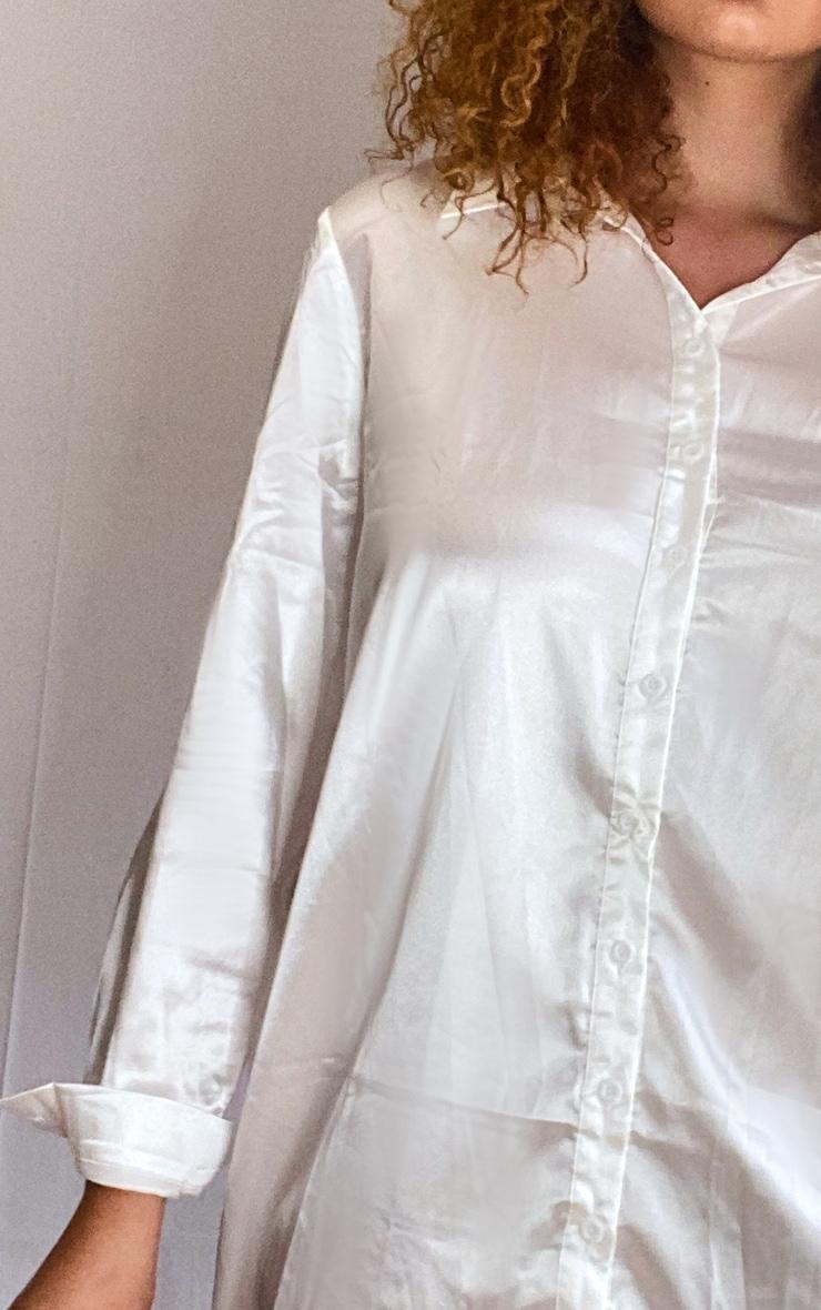 Plus Cream Satin Button Front Shirt Dress 4