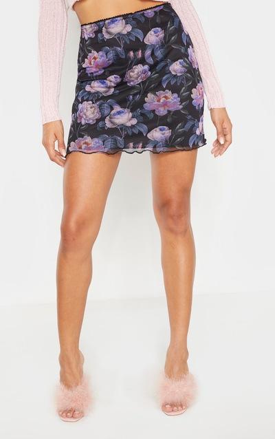 Black Floral Print Mesh Lettuce Hem Skirt