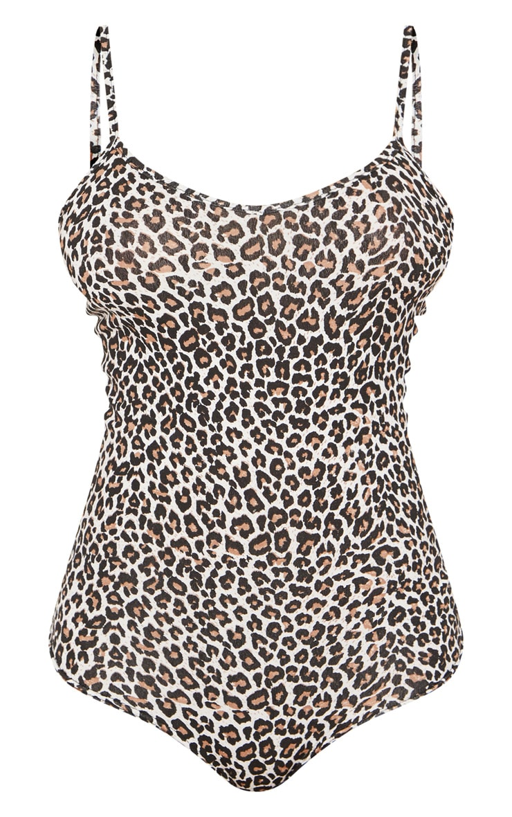Tall Tan Leopard Strappy Bodysuit  3