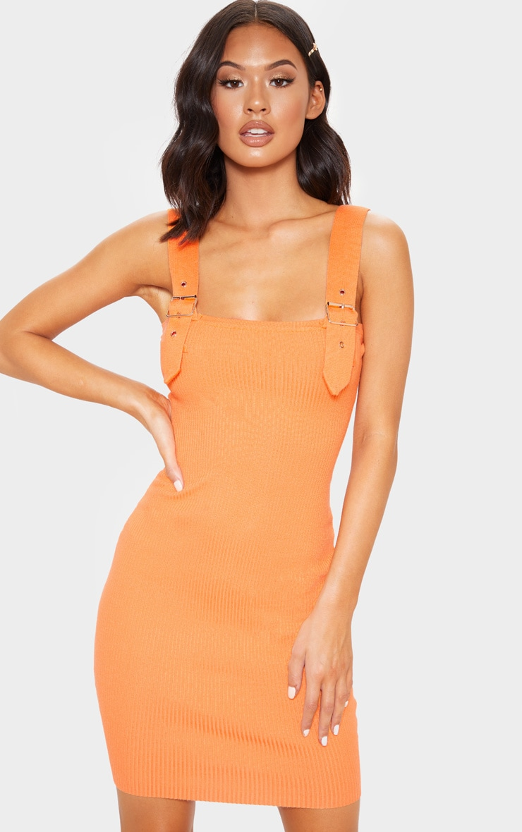 Orange Buckle Detailed Ribbed Knitted Dress