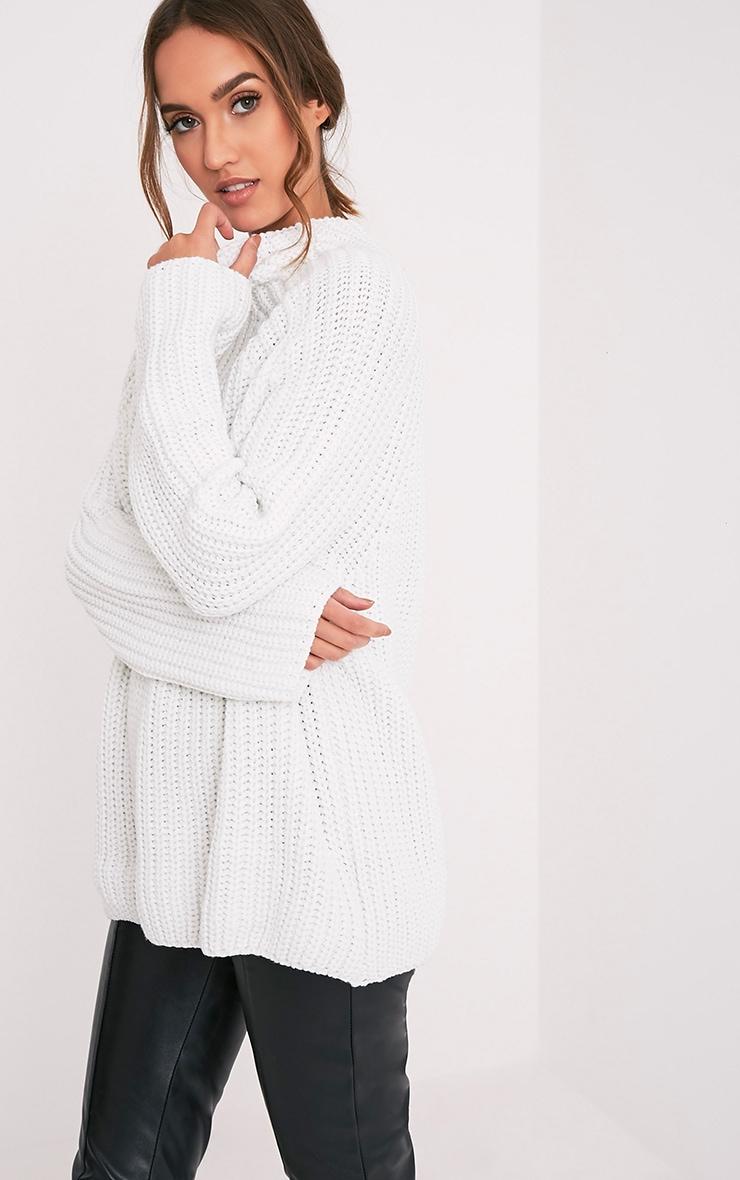 Rheana White Oversized Chunky Knit Jumper 4