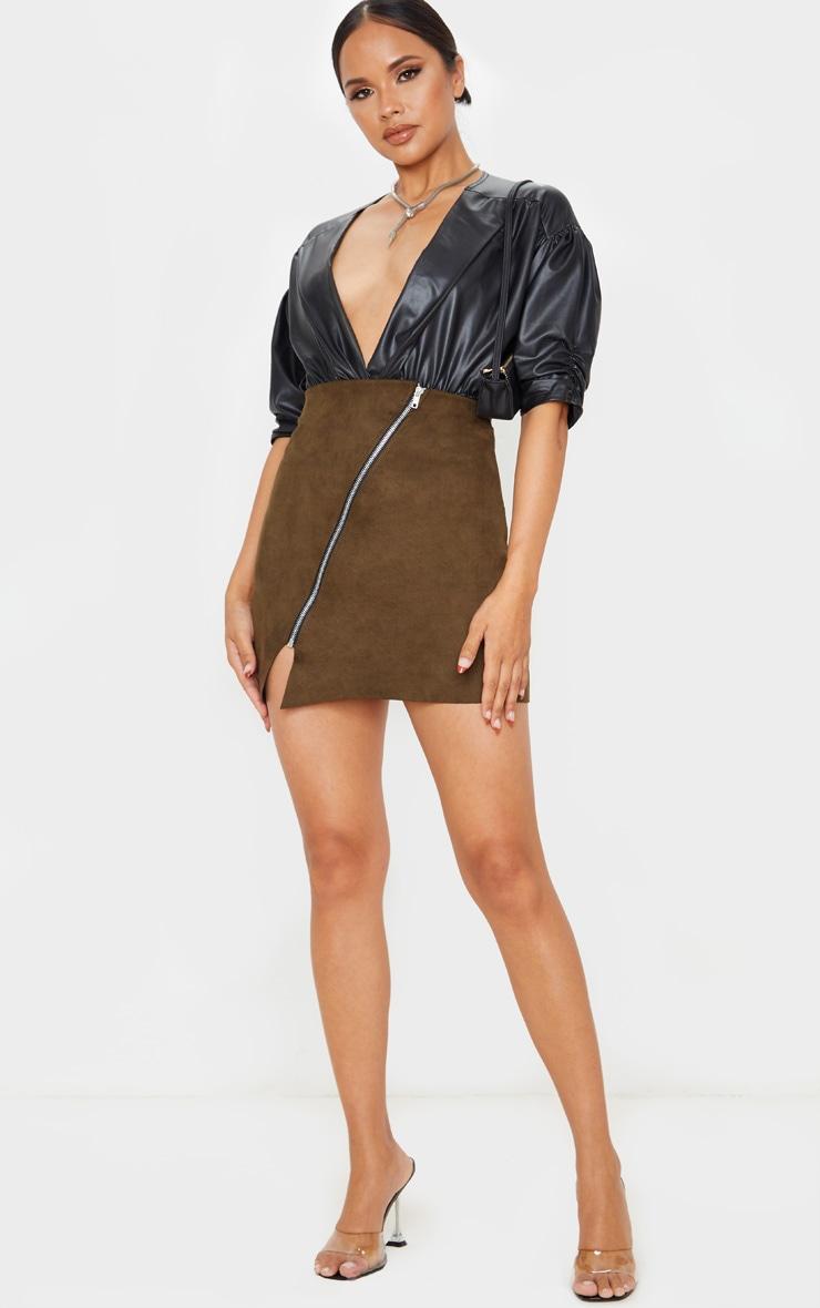 Khaki Faux Suede Zip Detail A Line Skirt 1