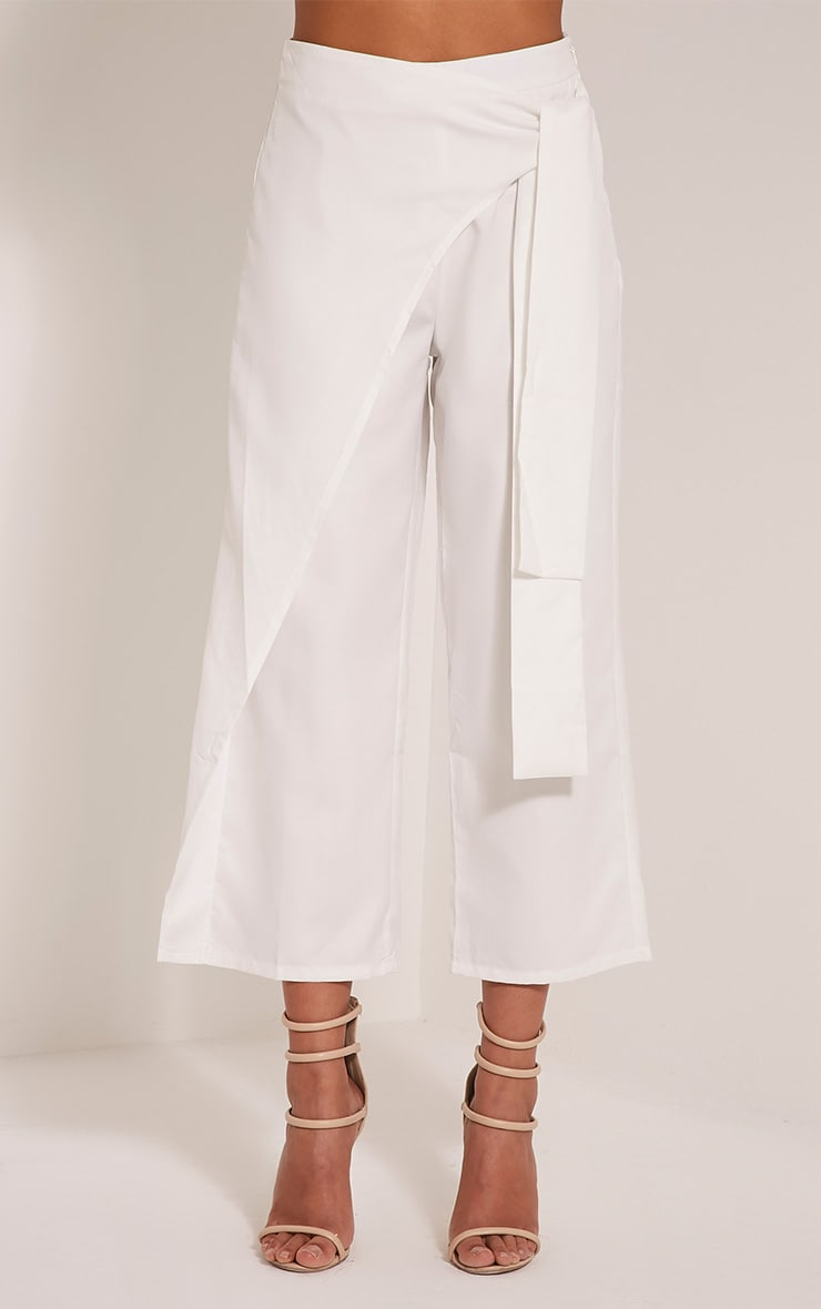 Shirley White Wrap Tie Culottes 3