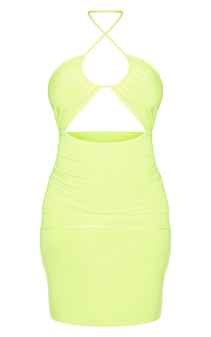 Lime Slinky Halterneck Cut Out Bodycon Dress 5