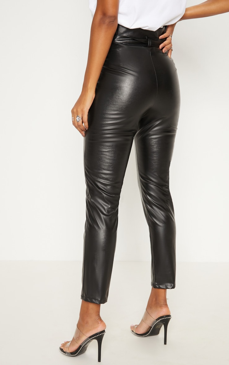 Black Faux Leather Tie Waist Cigarette Trouser 4