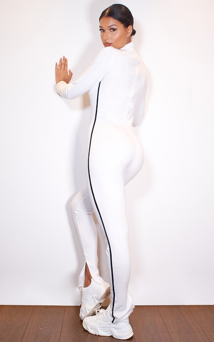 White Sports Stripe High Neck Jumpsuit 2