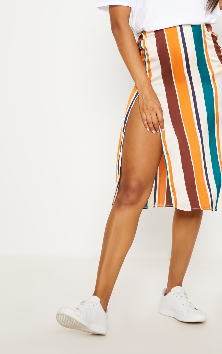 Orange Satin Stripe Midi Skirt 5