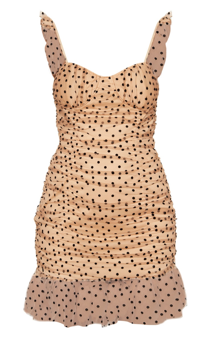 Nude Polkadot Mesh Frill Bodycon Dress 3