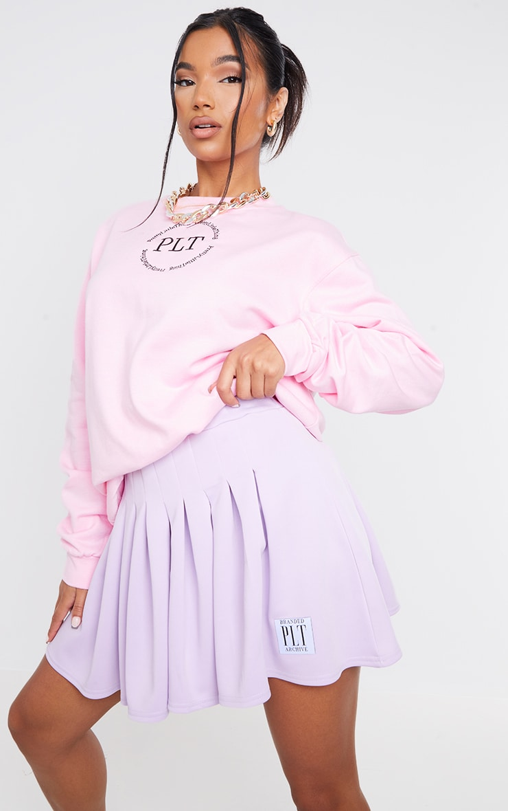 PRETTYLITTLETHING Lilac Badge Pleated Skater Skirt 4