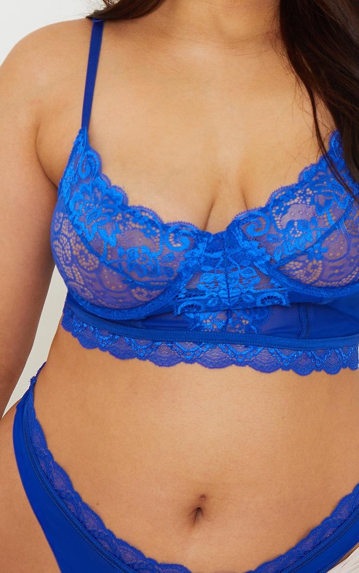 Plus Blue Lace Underwired Longline Bra 4