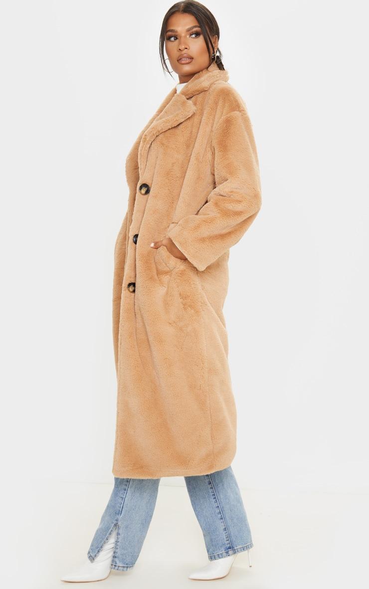 Taupe Maxi Faux Fur Button Front Coat 1