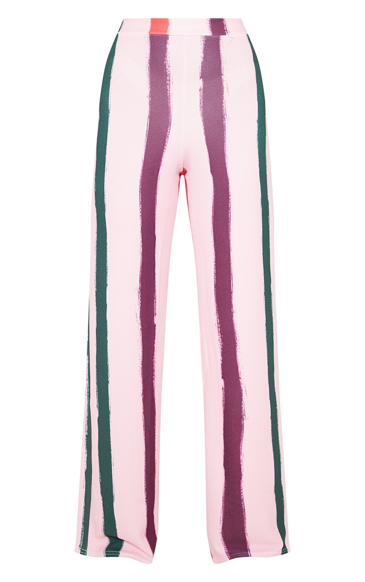 Light Pink Multi Thick Stripe Wide Leg Pants  3