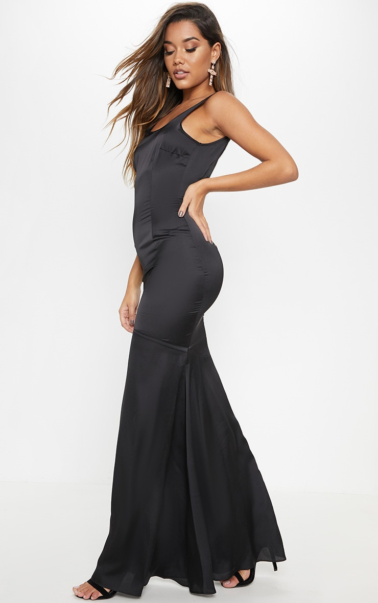 Black Satin Thick Strap Fishtail Maxi Dress 1