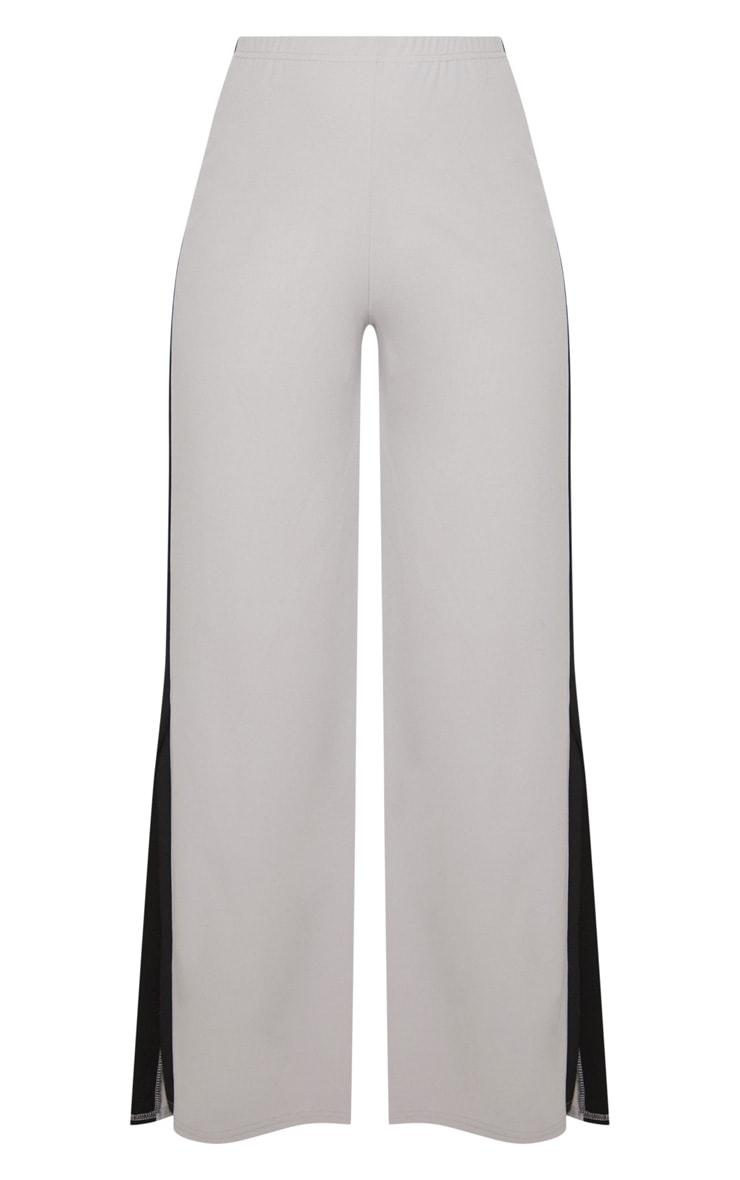 Grey Contrast Side Panel Split Hem Wide Leg Trouser 3
