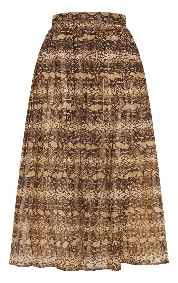Brown Woven Snake Print Pleated Midi Skirt  3